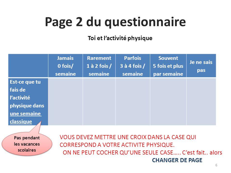 Page 2 du questionnaire Toi et l'activité physique