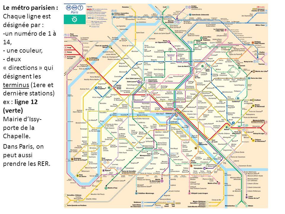 Le métro parisien : Chaque ligne est désignée par : un numéro de 1 à 14, une couleur,