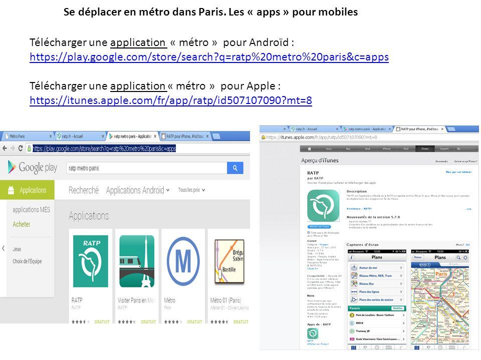 Se déplacer en métro dans Paris. Les « apps » pour mobiles