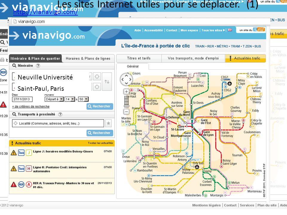 Les sites Internet utiles pour se déplacer. (1)