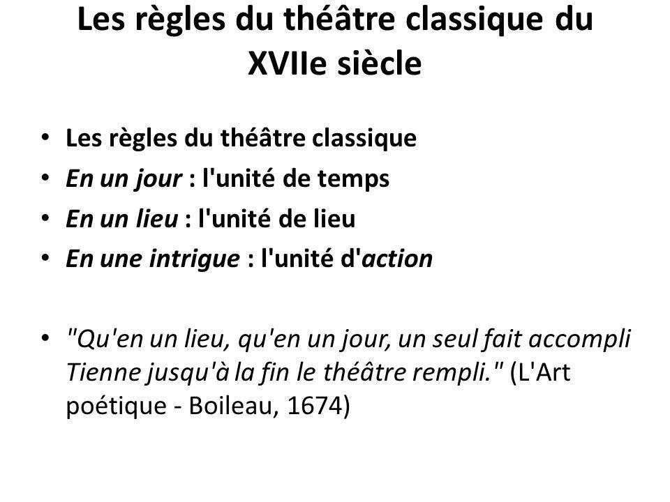 Les règles du théâtre classique du XVIIe siècle