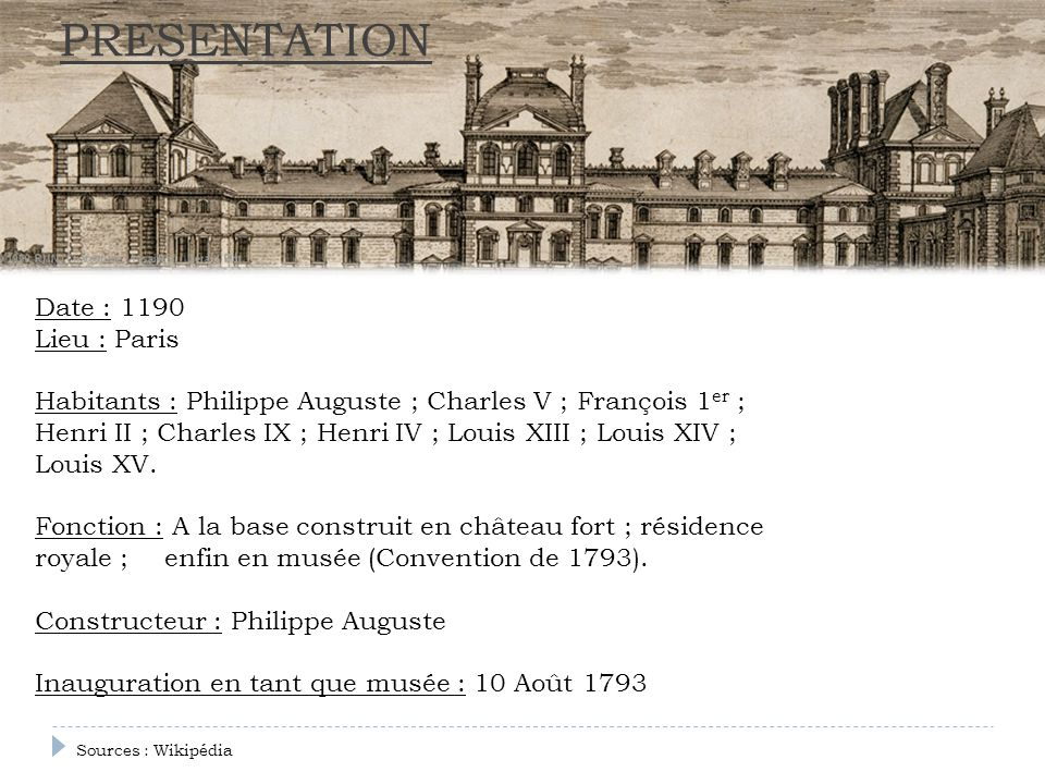 PRESENTATION Date : 1190 Lieu : Paris