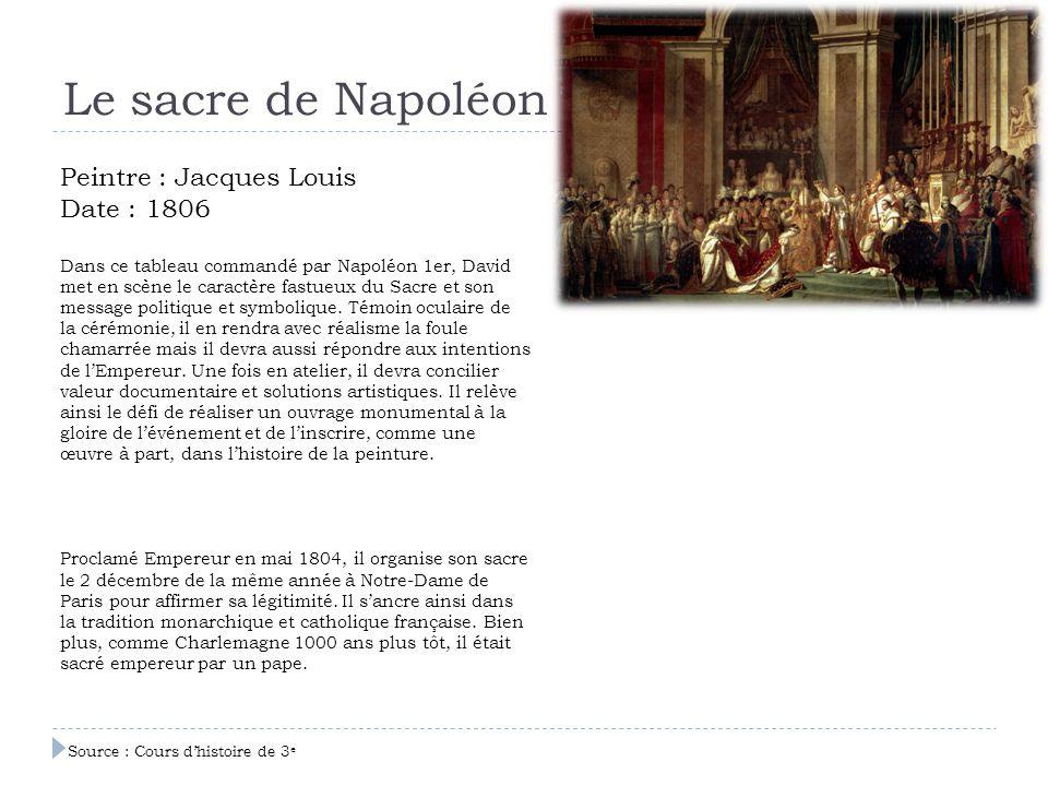 Le sacre de Napoléon Peintre : Jacques Louis Date : 1806