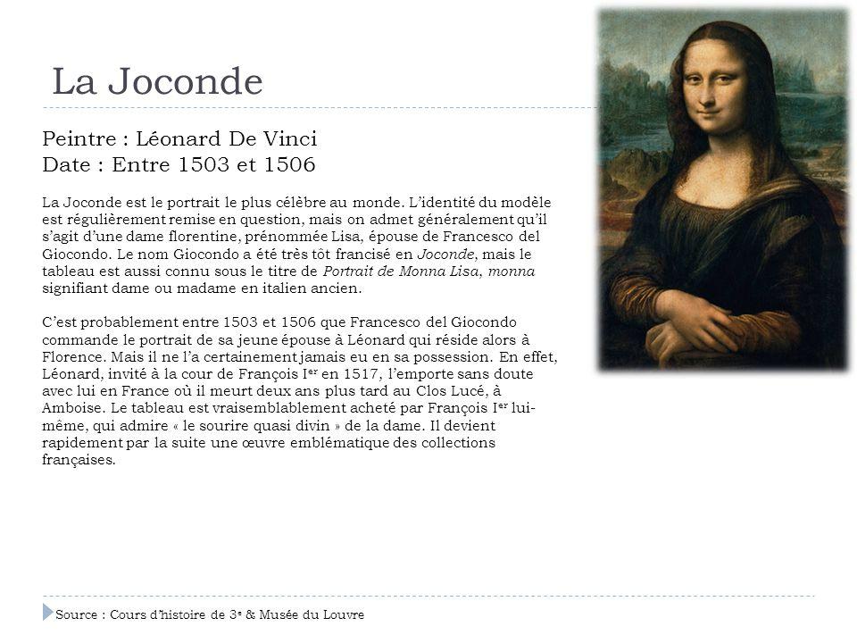 La Joconde Peintre : Léonard De Vinci Date : Entre 1503 et 1506