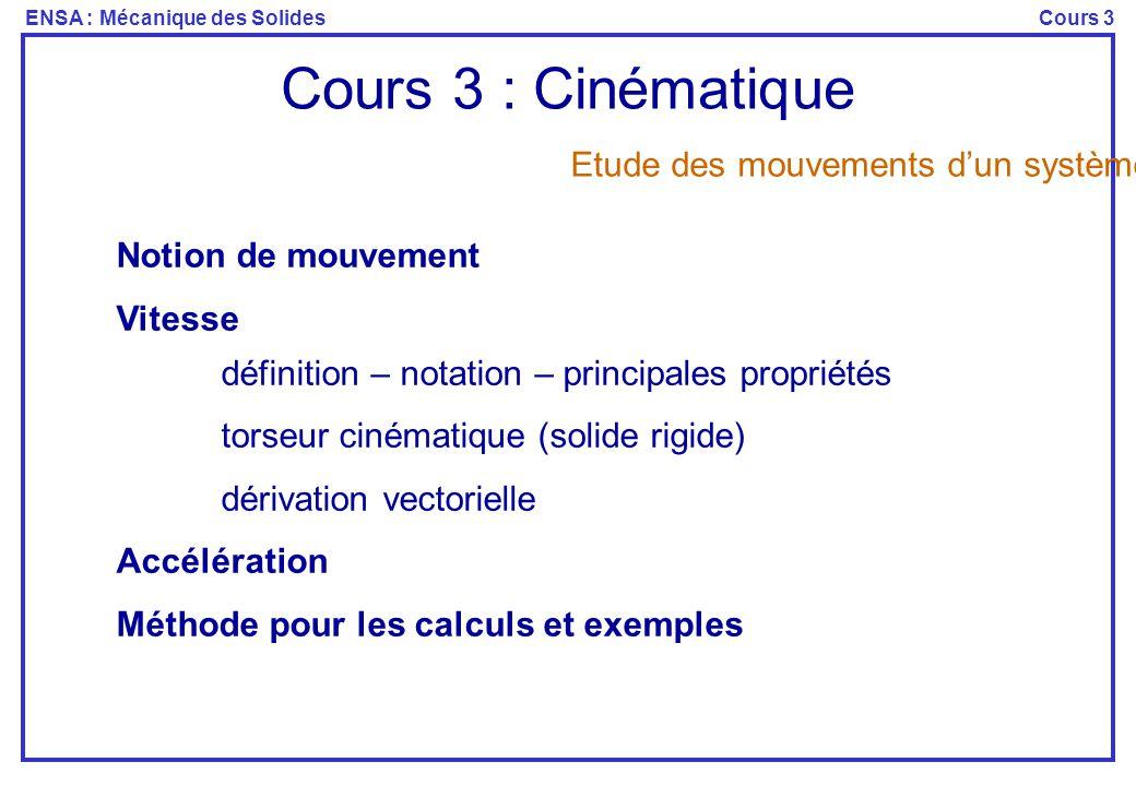 Cours 3 : Cinématique Etude des mouvements d'un système