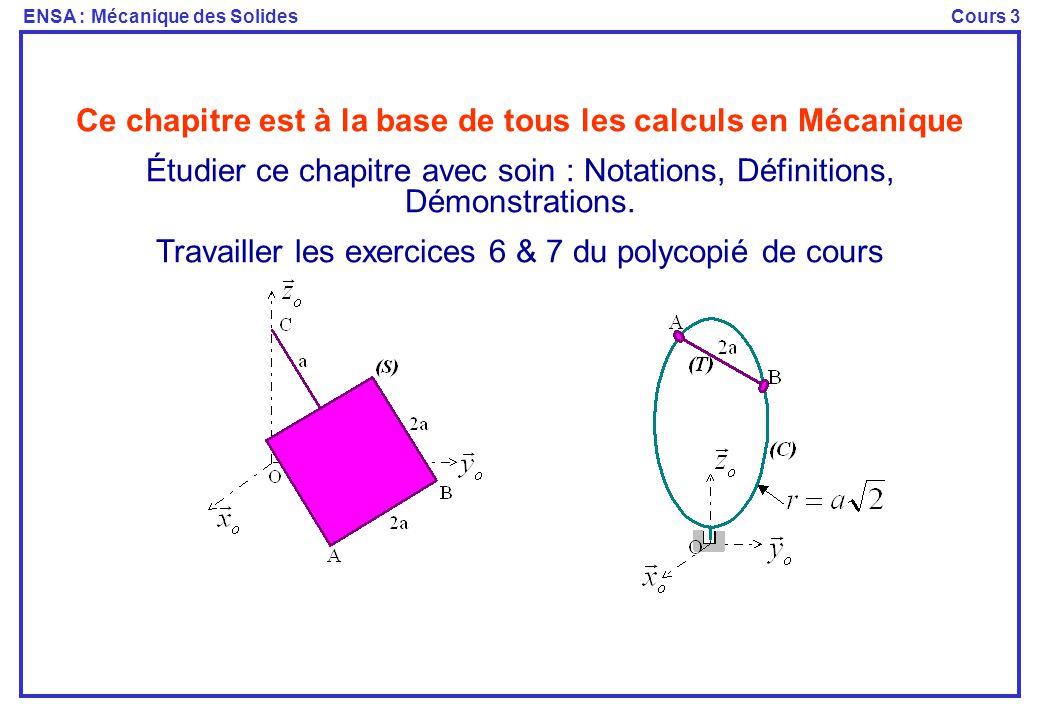Ce chapitre est à la base de tous les calculs en Mécanique