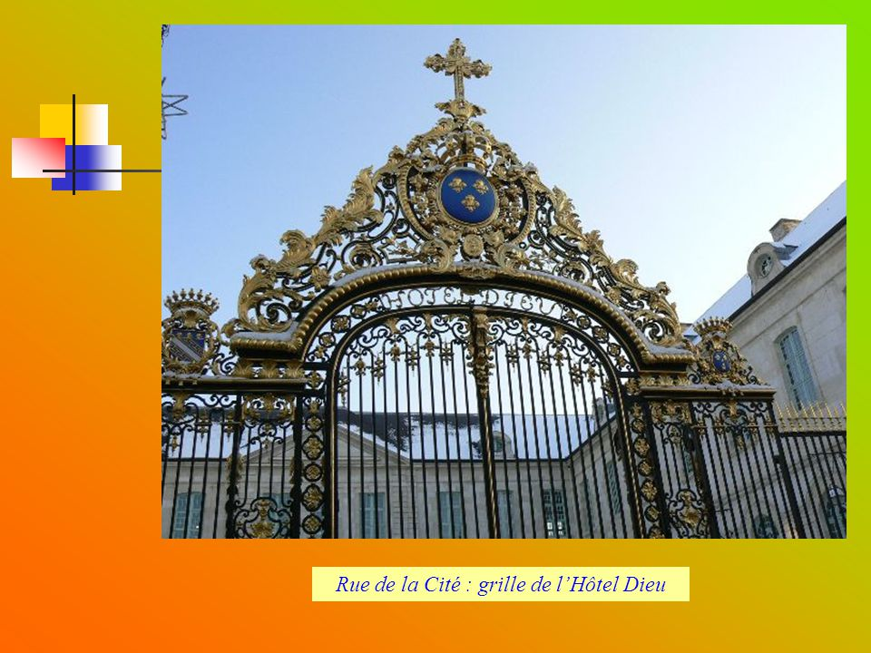 Rue de la Cité : grille de l'Hôtel Dieu