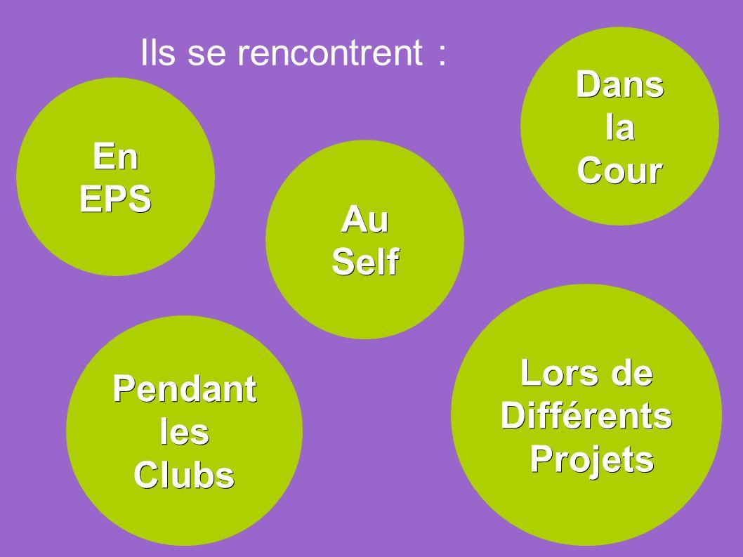 Ils se rencontrent : Dans la Cour En EPS Au Self Lors de Différents Projets Pendant les Clubs