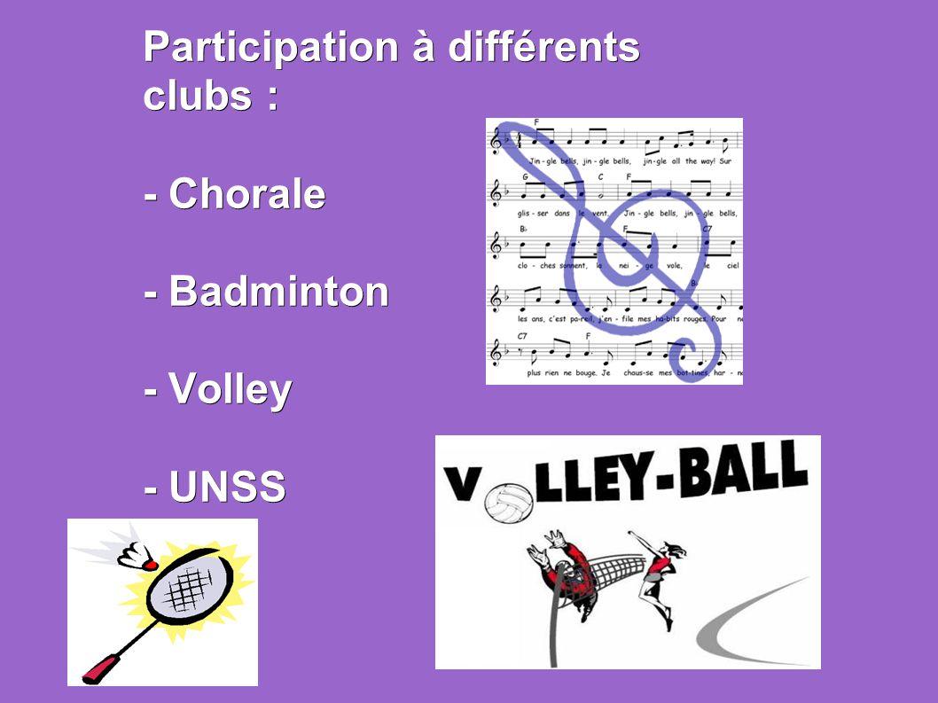 Participation à différents clubs :