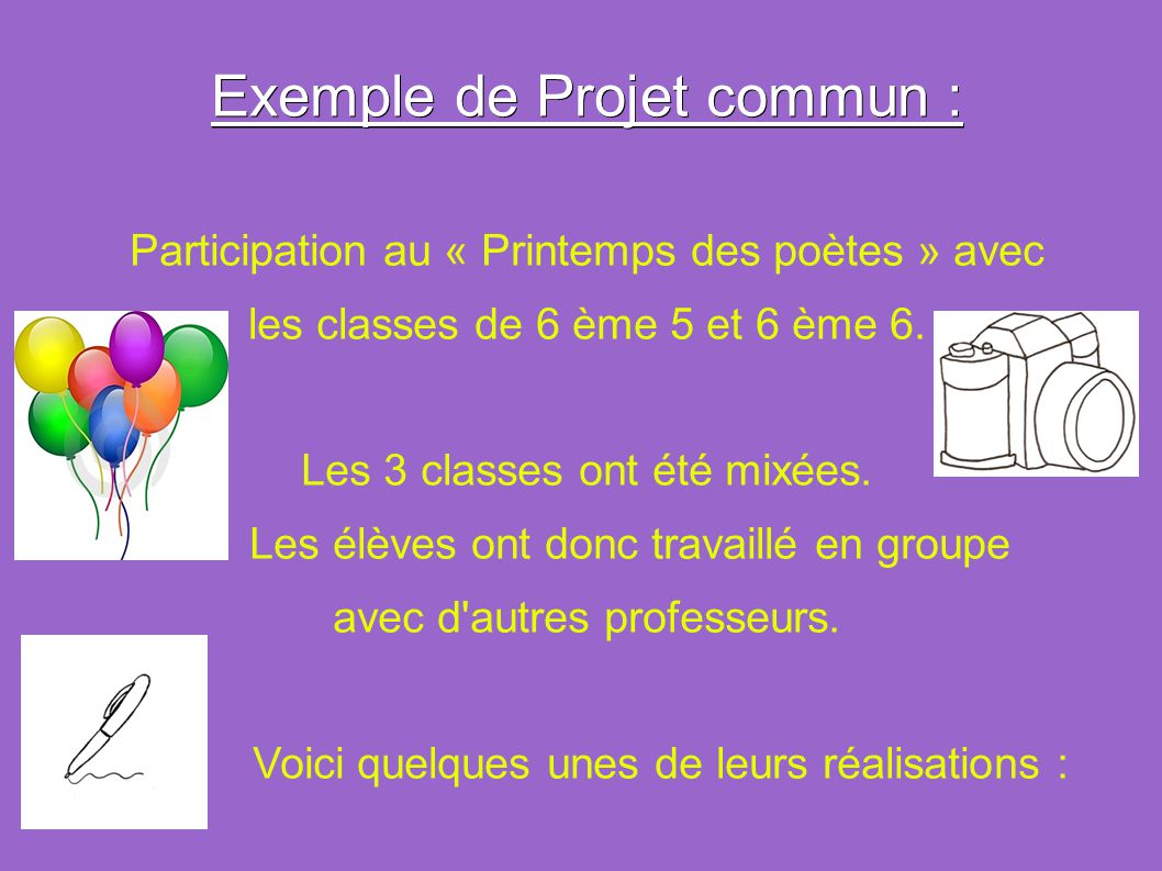 Exemple de Projet commun :
