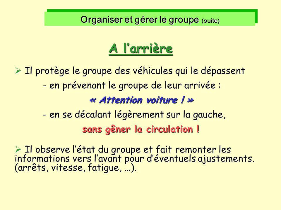 Organiser et gérer le groupe (suite) sans gêner la circulation !