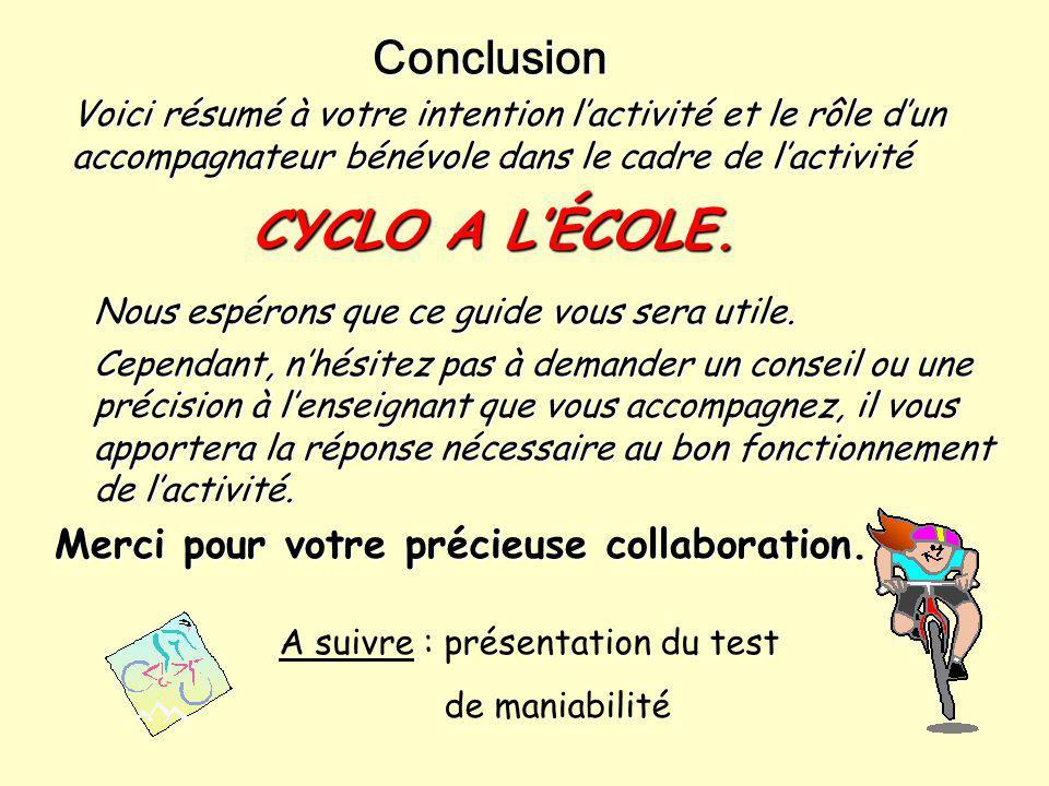 CYCLO A L'ÉCOLE. Conclusion