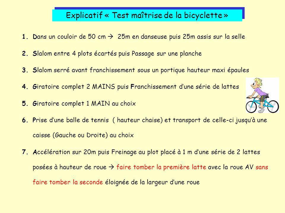 Explicatif « Test maîtrise de la bicyclette »