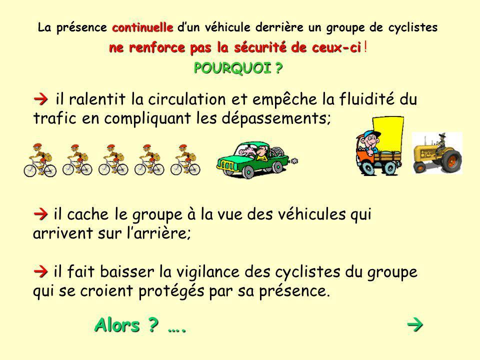 La présence continuelle d'un véhicule derrière un groupe de cyclistes