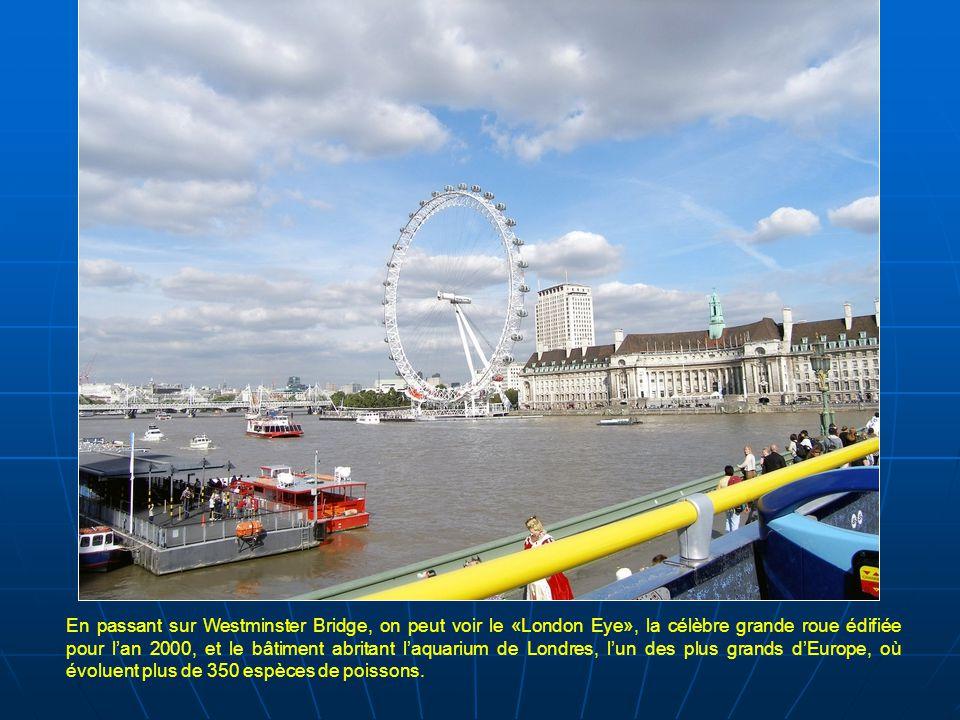 En passant sur Westminster Bridge, on peut voir le «London Eye», la célèbre grande roue édifiée pour l'an 2000, et le bâtiment abritant l'aquarium de Londres, l'un des plus grands d'Europe, où évoluent plus de 350 espèces de poissons.