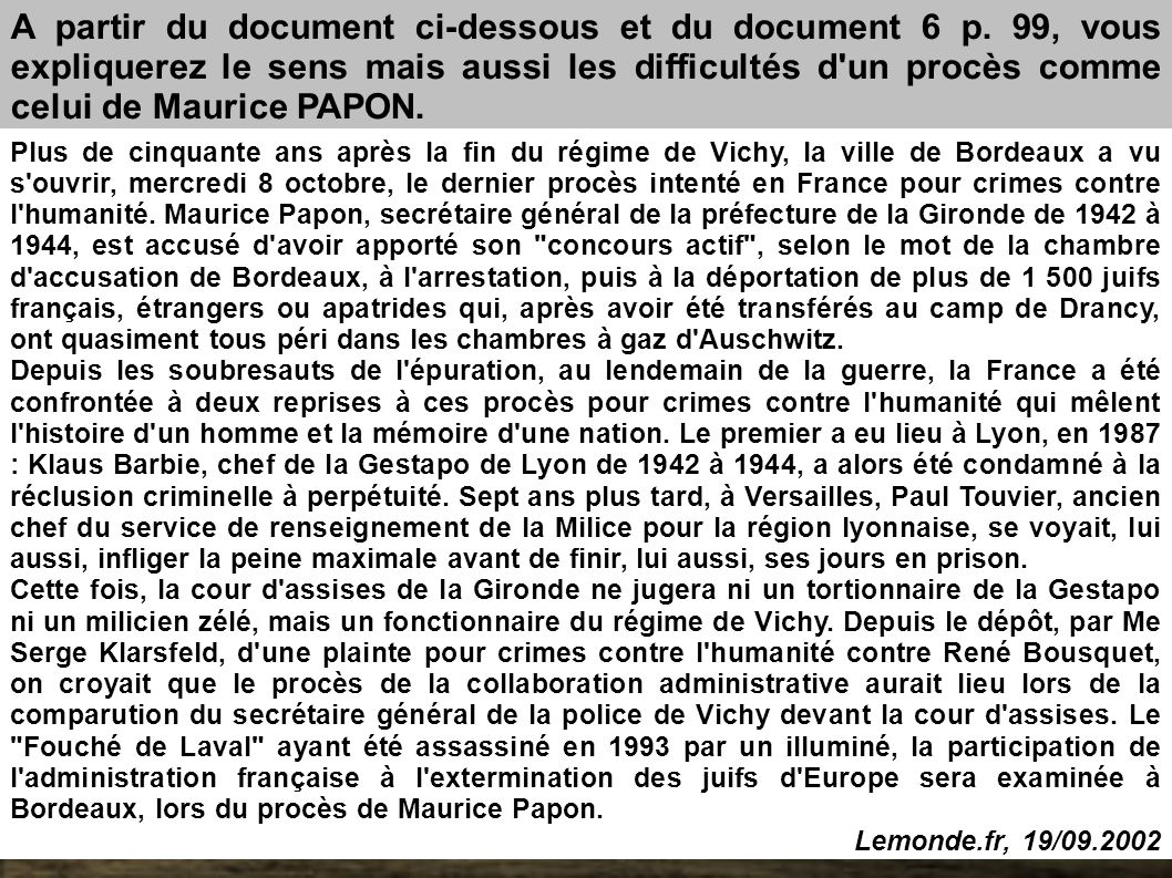 A partir du document ci-dessous et du document 6 p