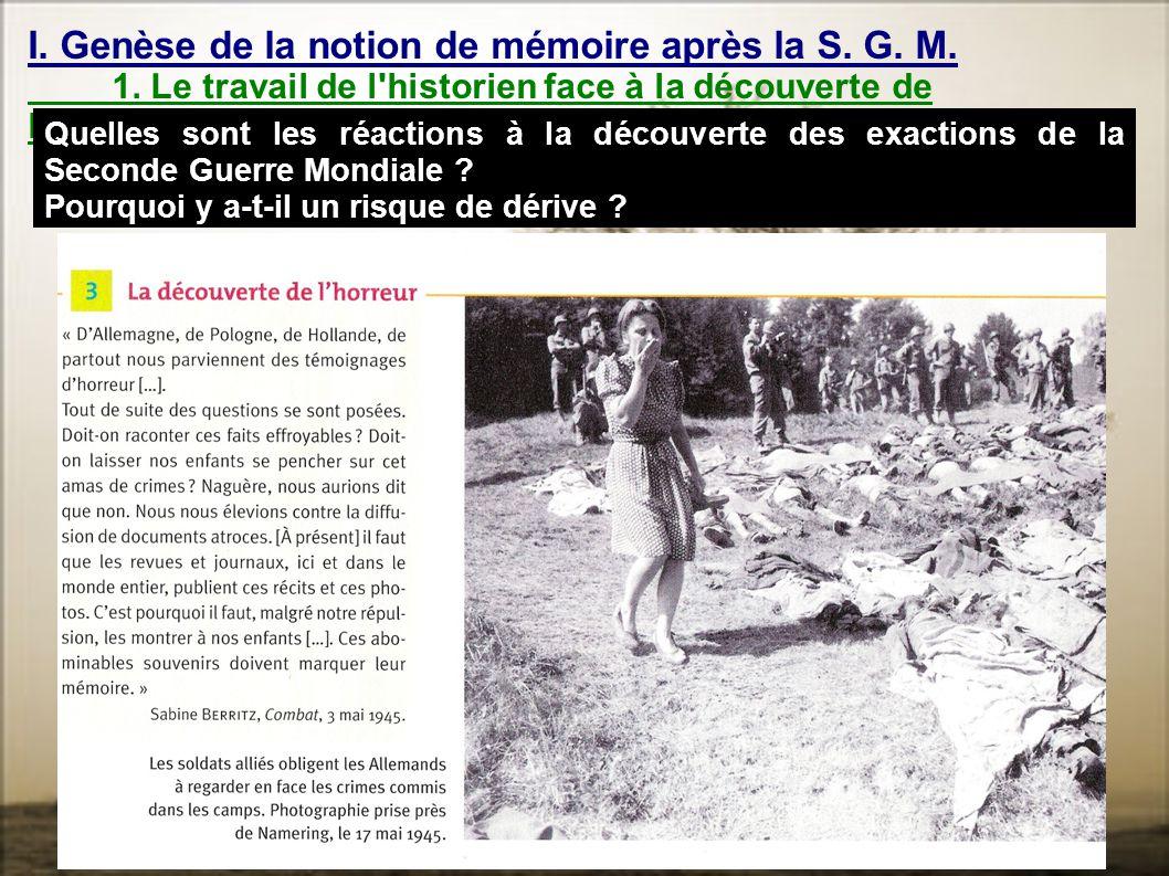 I. Genèse de la notion de mémoire après la S. G. M.