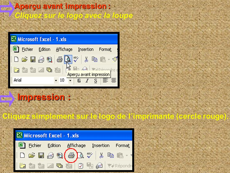 Impression : Impression : Aperçu avant impression :