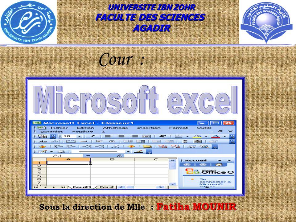 Cour : Microsoft excel FACULTE DES SCIENCES AGADIR