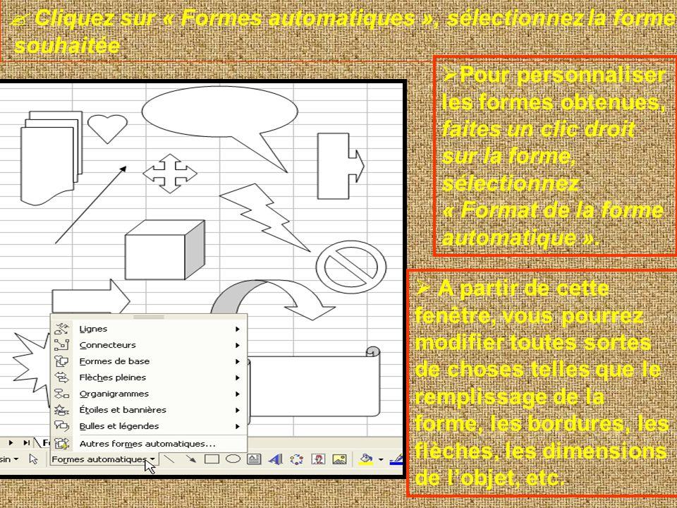  Cliquez sur « Formes automatiques », sélectionnez la forme
