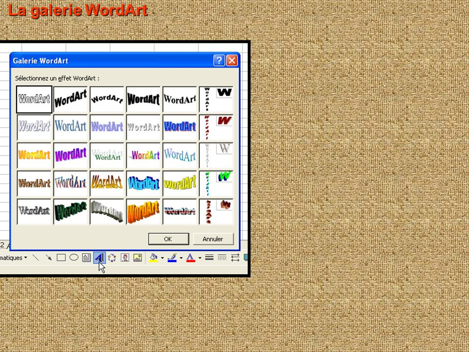 La galerie WordArt