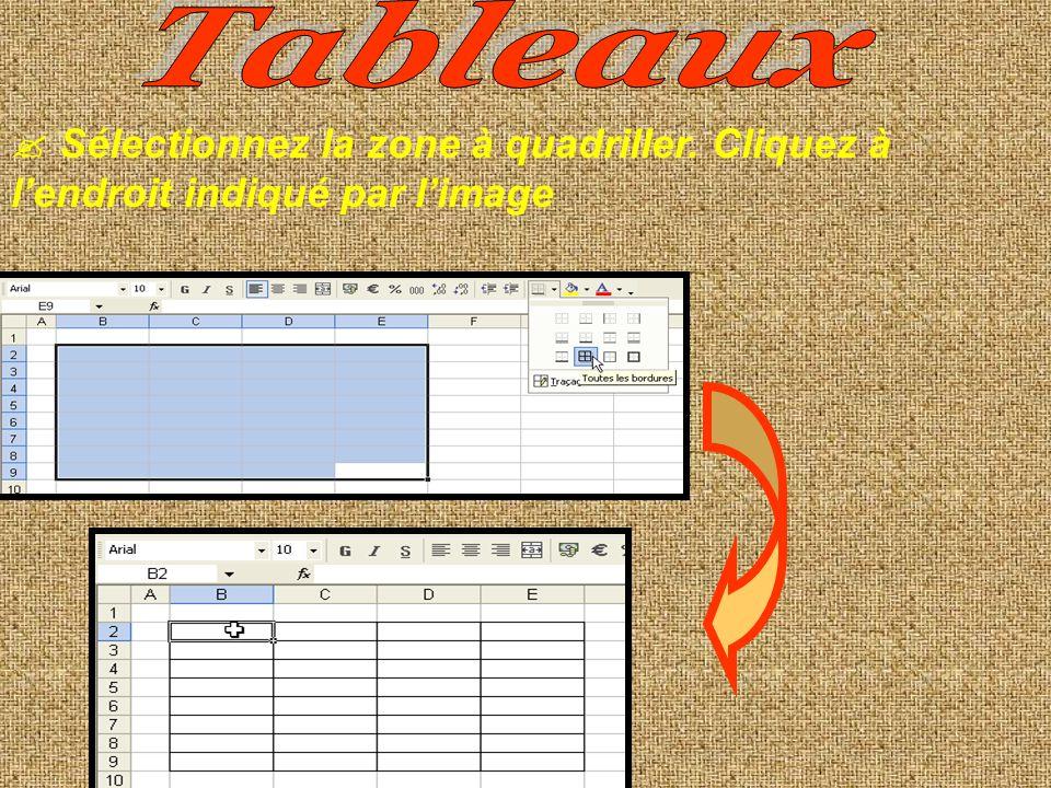 Tableaux  Sélectionnez la zone à quadriller. Cliquez à l'endroit indiqué par l'image