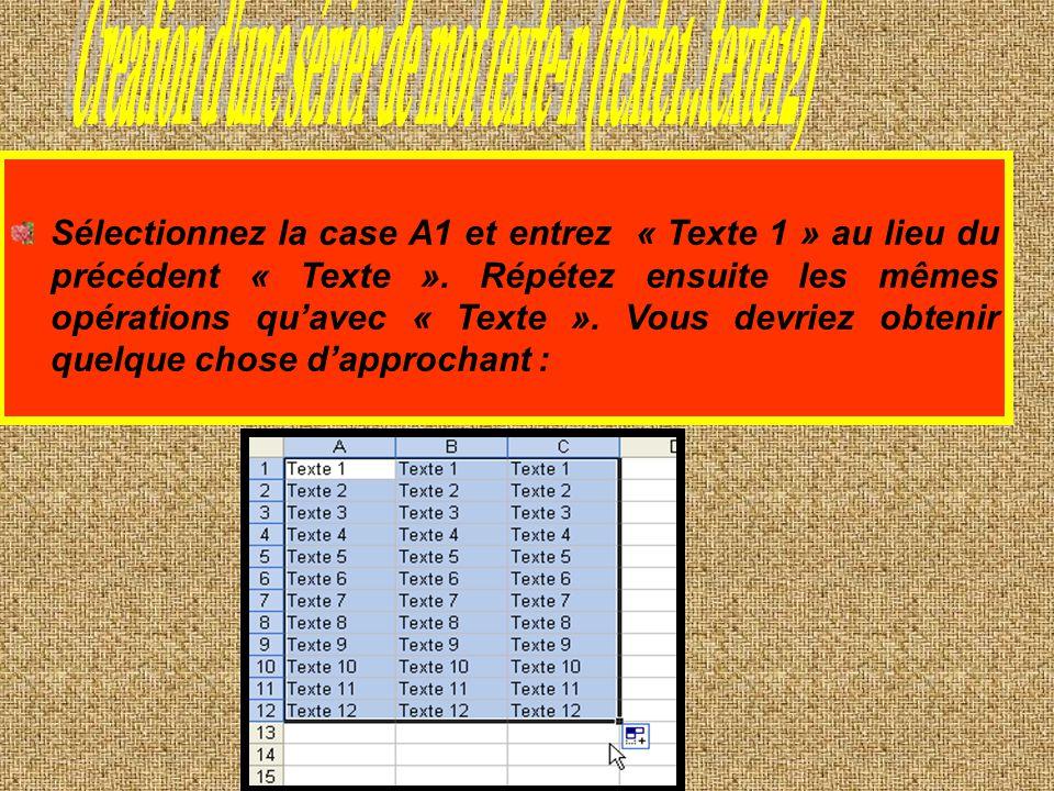 Creation d une sérier de mot texte-n (texte1..texte12)