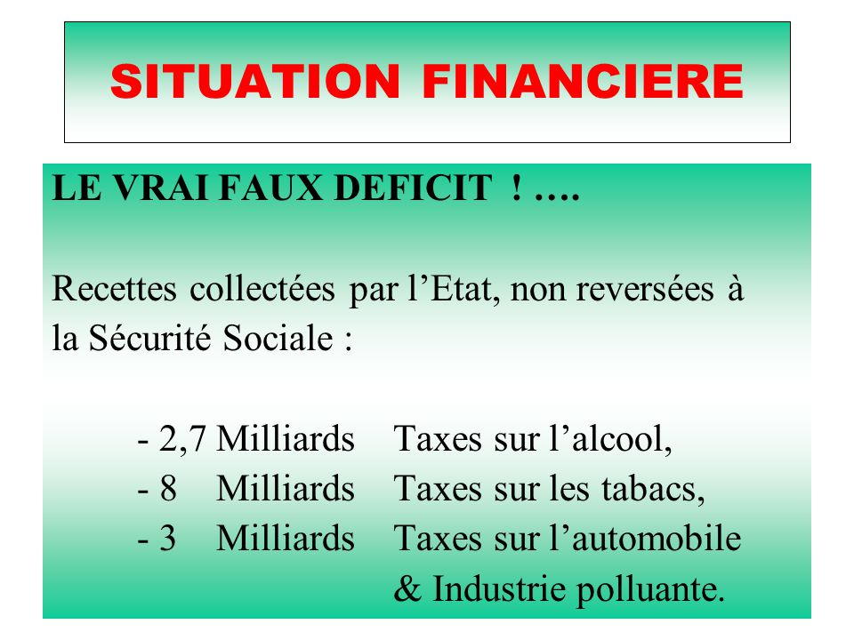 SITUATION FINANCIERE LE VRAI FAUX DEFICIT ! ….