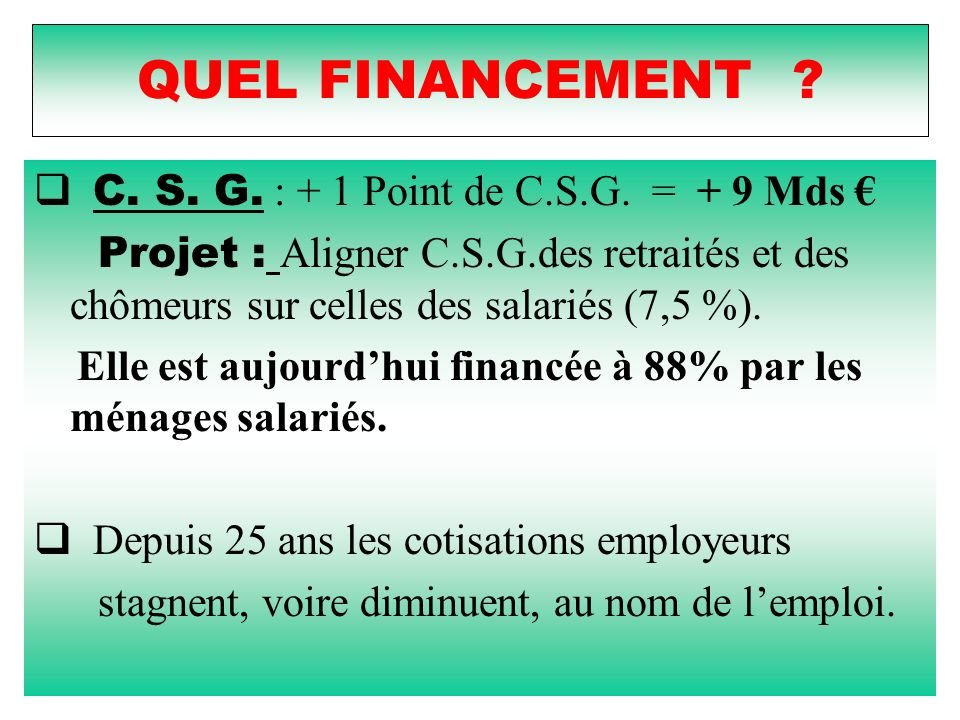 QUEL FINANCEMENT C. S. G. : + 1 Point de C.S.G. = + 9 Mds €