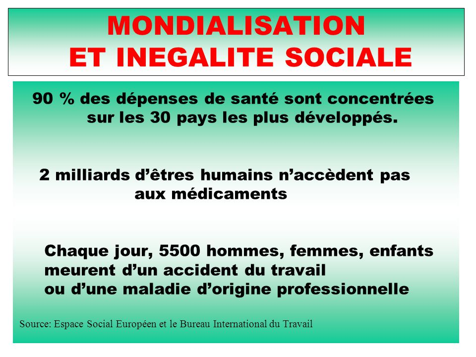MONDIALISATION ET INEGALITE SOCIALE