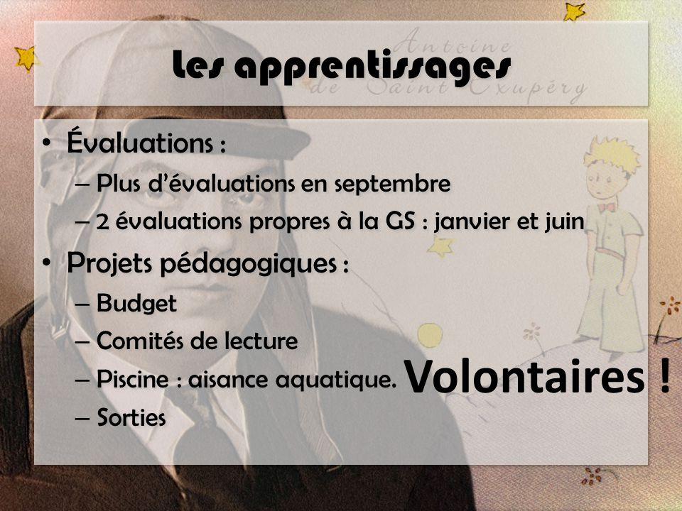 Volontaires ! Les apprentissages Évaluations : Projets pédagogiques :