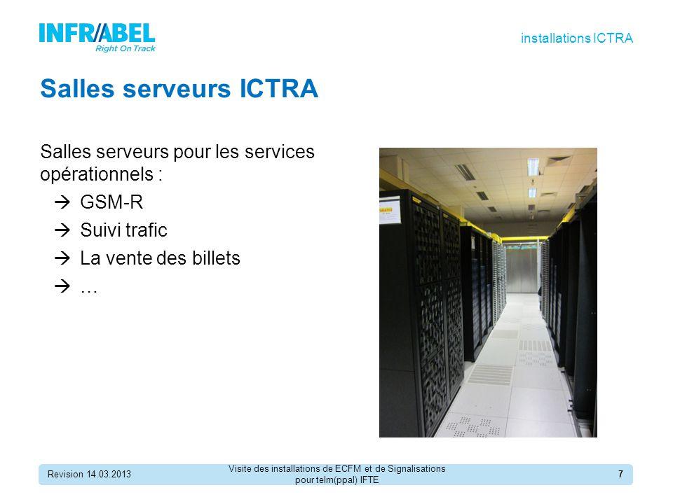 installations ICTRA Salles serveurs ICTRA. Salles serveurs pour les services opérationnels : GSM-R.