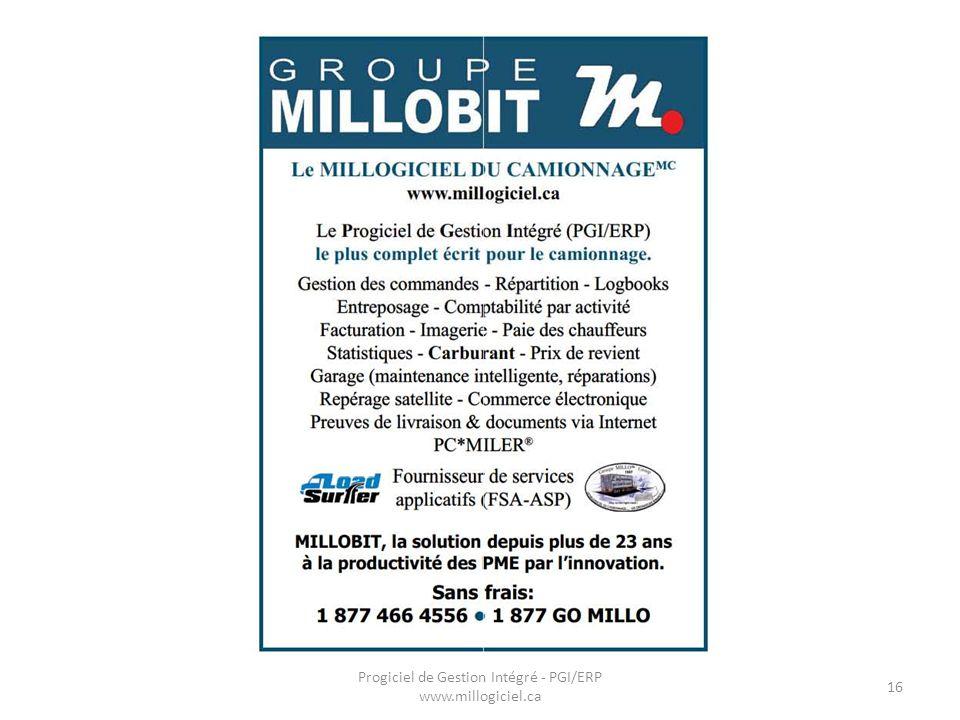 Progiciel de Gestion Intégré - PGI/ERP www.millogiciel.ca