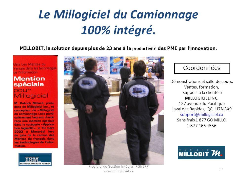 Le Millogiciel du Camionnage 100% intégré.