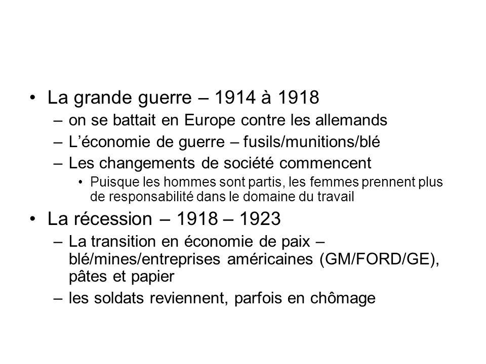 La grande guerre – 1914 à 1918 La récession – 1918 – 1923