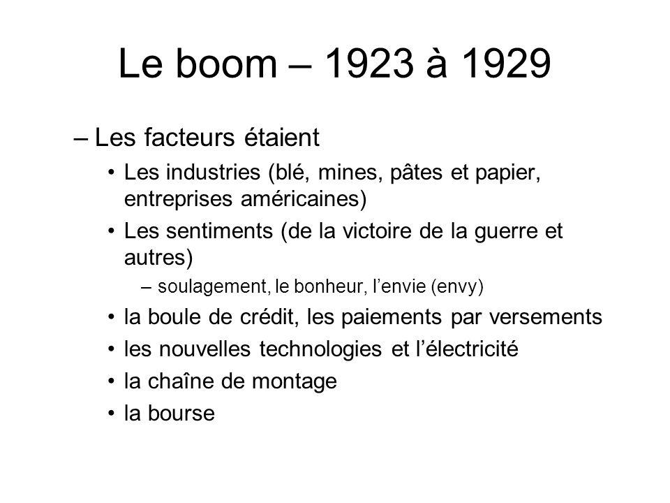 Le boom – 1923 à 1929 Les facteurs étaient