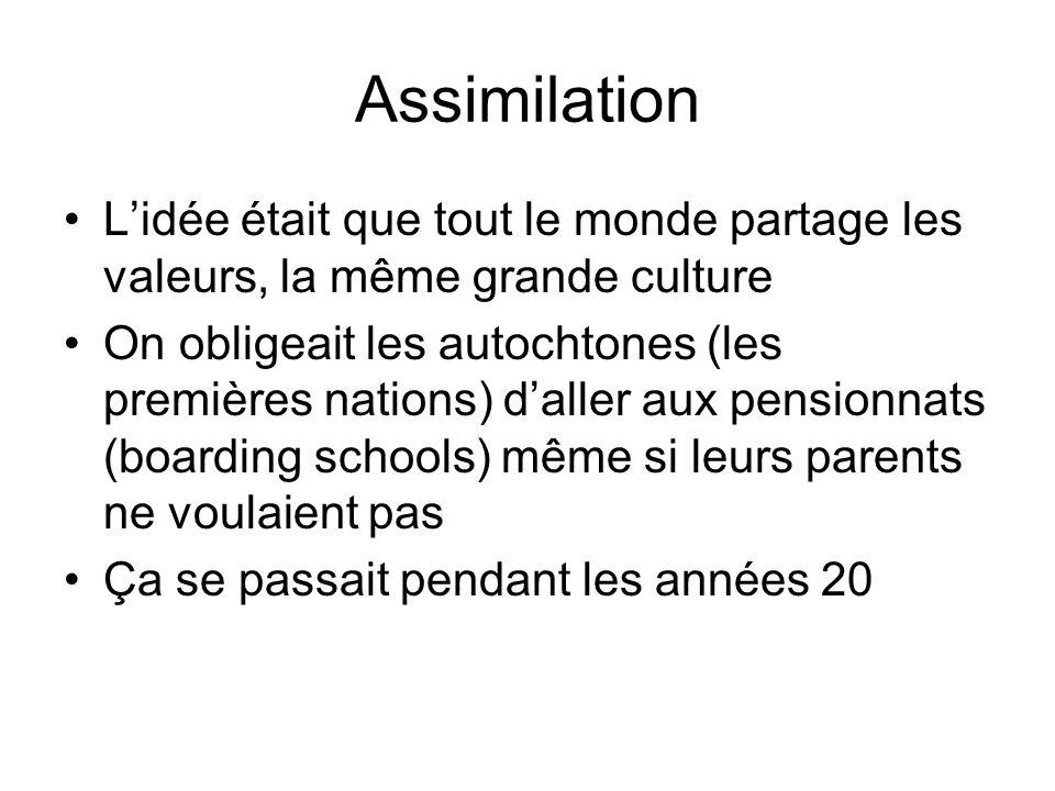Assimilation L'idée était que tout le monde partage les valeurs, la même grande culture.