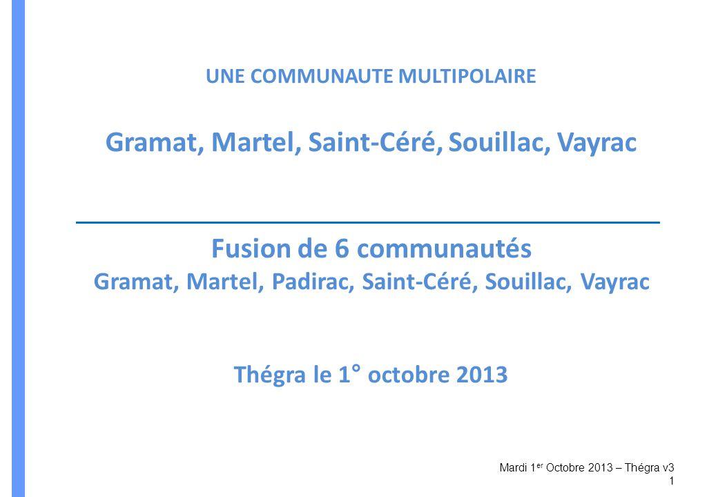 Gramat, Martel, Saint-Céré, Souillac, Vayrac Fusion de 6 communautés