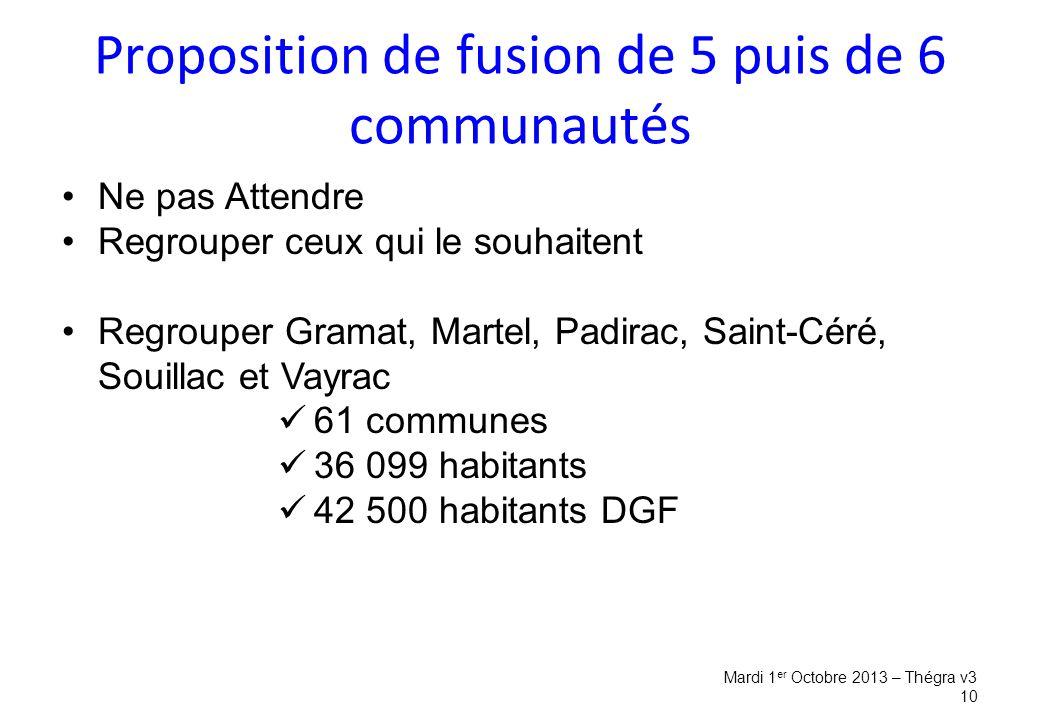 Proposition de fusion de 5 puis de 6 communautés