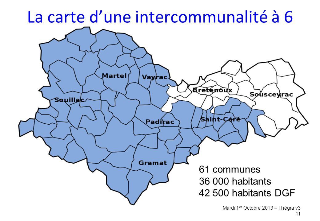 La carte d'une intercommunalité à 6