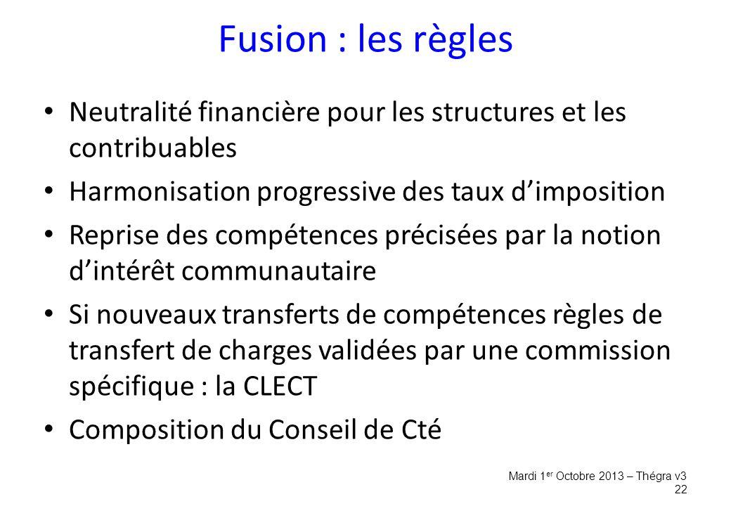 Fusion : les règles Neutralité financière pour les structures et les contribuables. Harmonisation progressive des taux d'imposition.