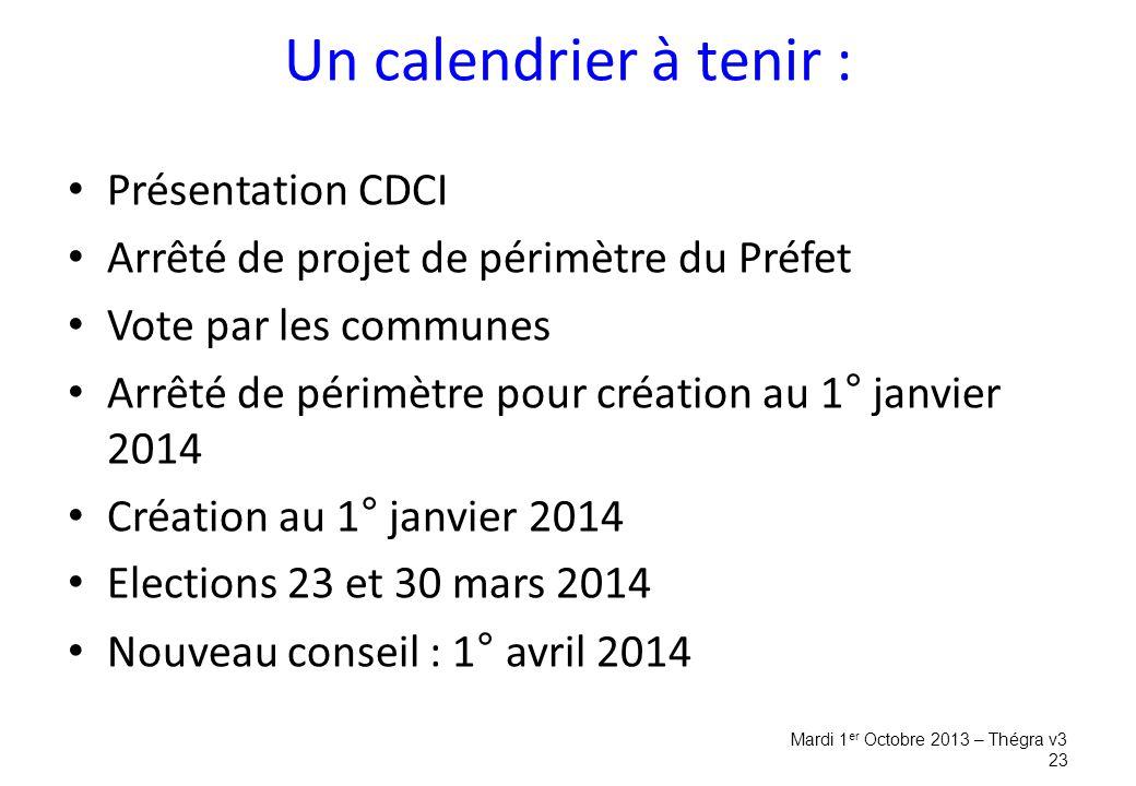 Un calendrier à tenir : Présentation CDCI