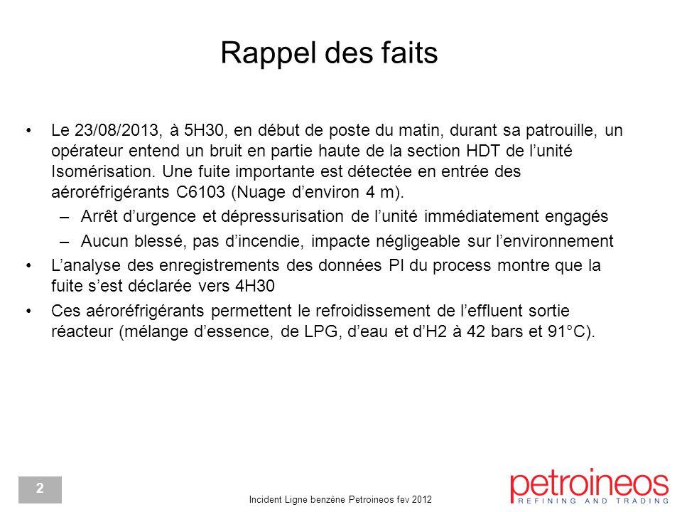 Incident Ligne benzène Petroineos fev 2012