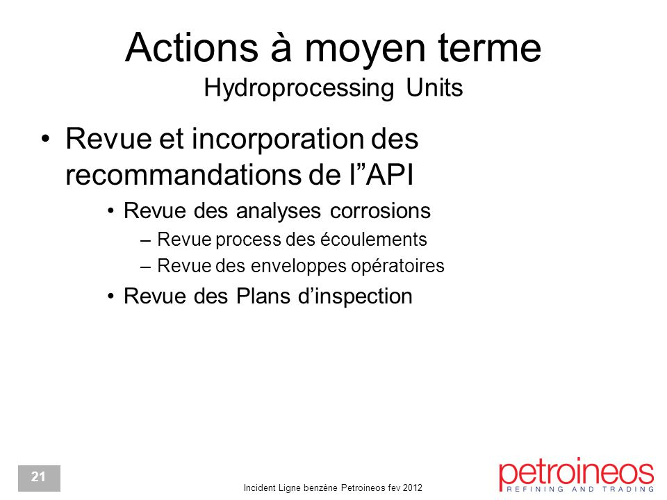 Actions à moyen terme Hydroprocessing Units