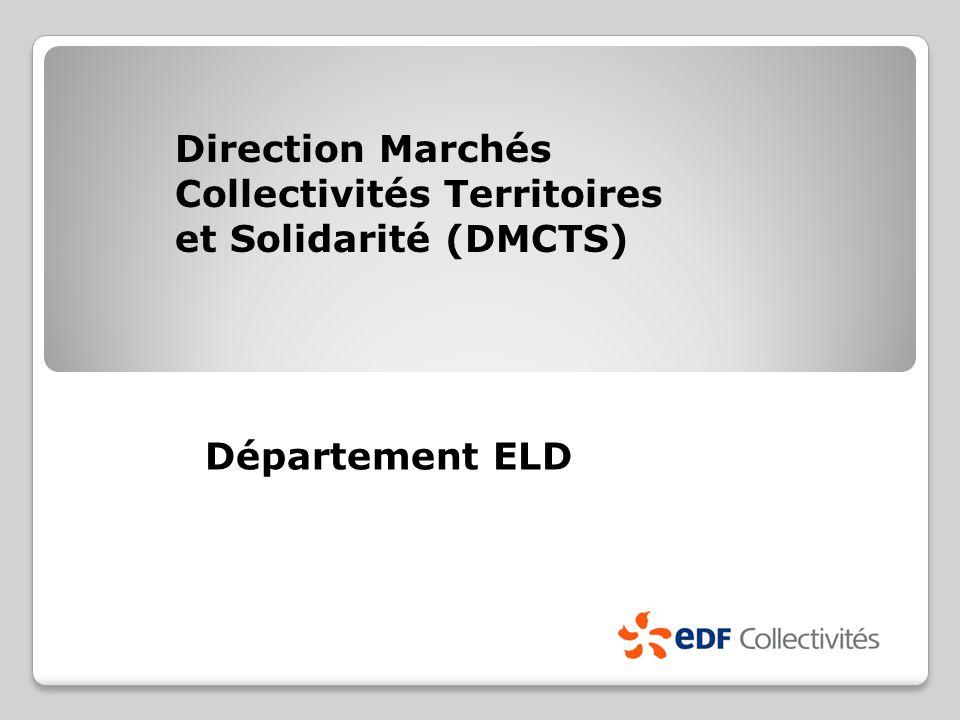 Direction Marchés Collectivités Territoires et Solidarité (DMCTS) Département ELD