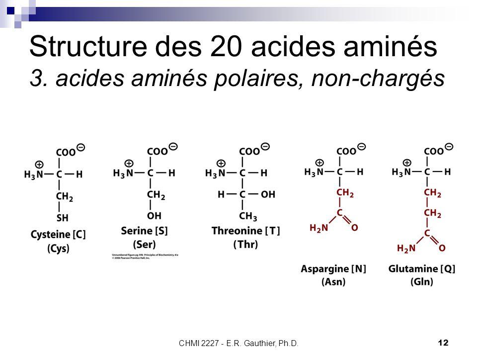 Structure des 20 acides aminés 3. acides aminés polaires, non-chargés
