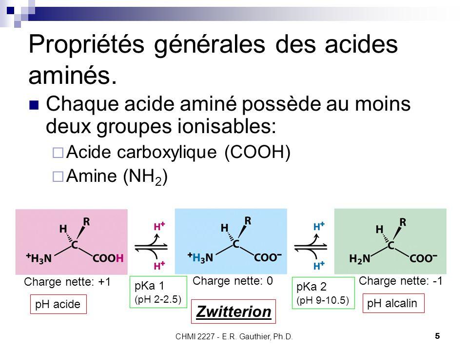 Propriétés générales des acides aminés.