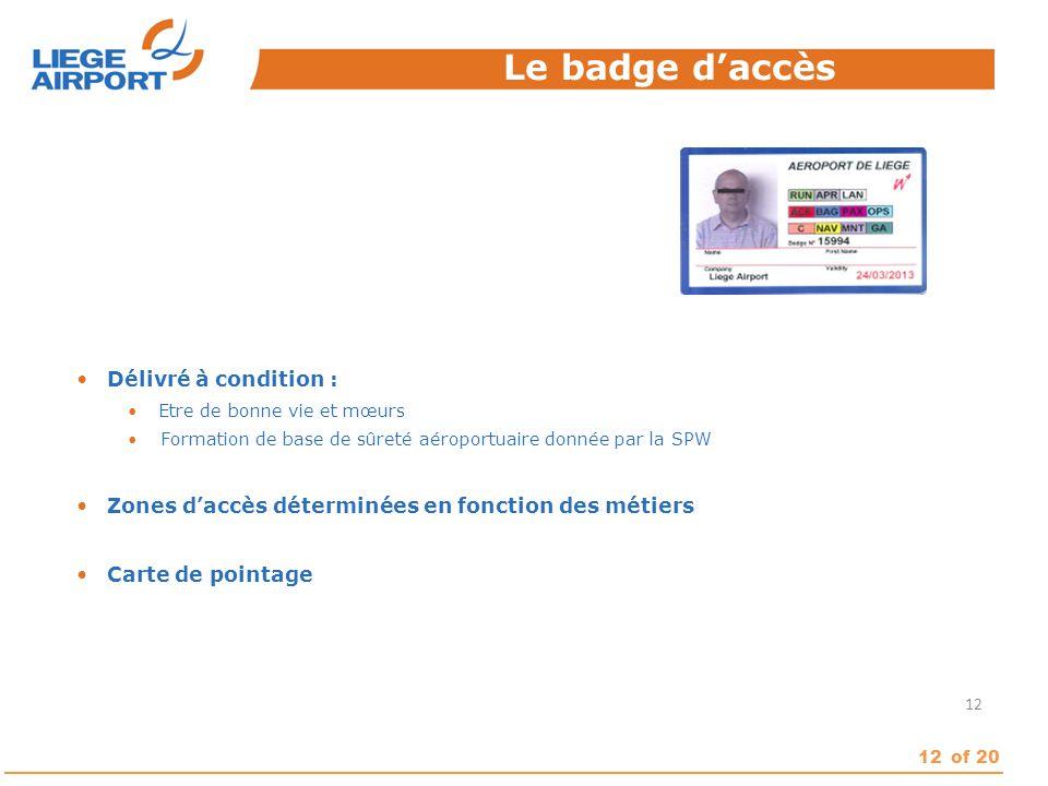 Le badge d'accès Délivré à condition :