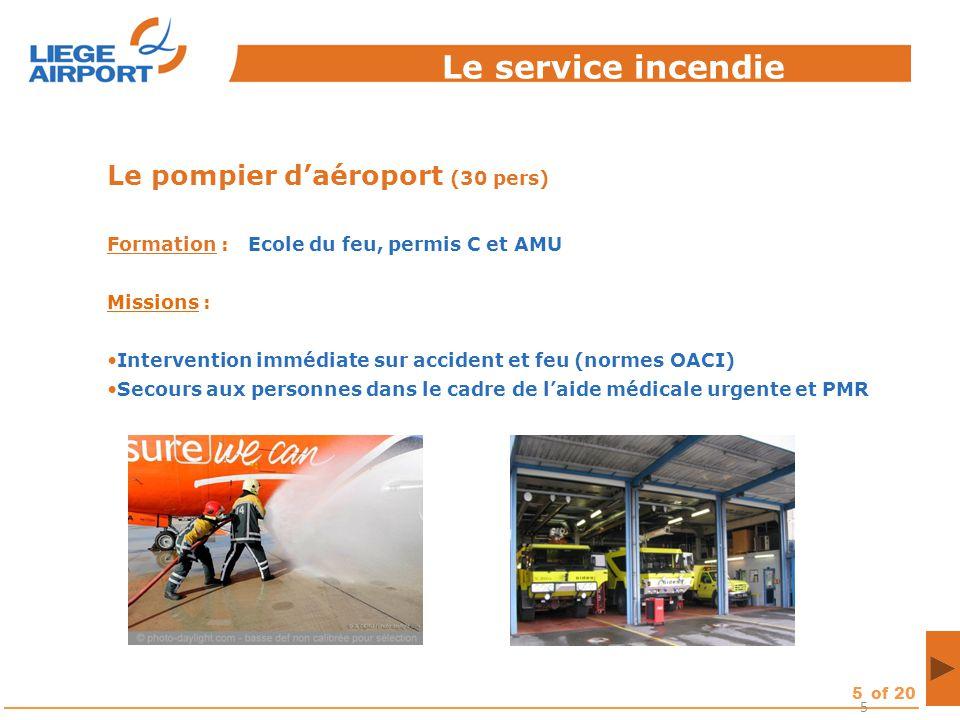 Le service incendie Le pompier d'aéroport (30 pers)