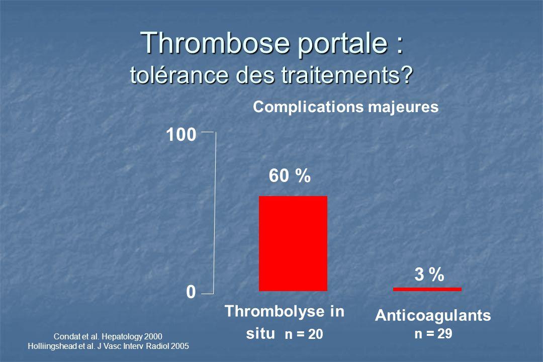 Thrombose portale : tolérance des traitements